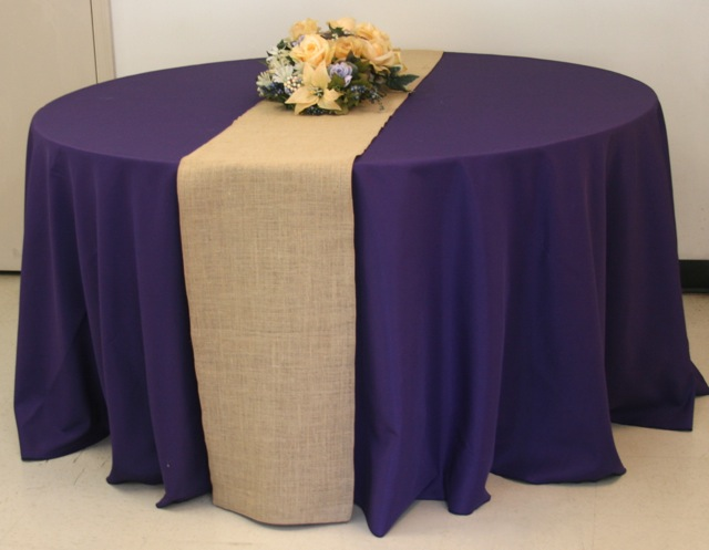 ... King Rental: Round Table With Burlap On Purple Linen ...