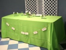 King Rental: Table with green linen