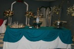 King Rental: Teal table with fountain